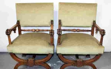 Pair French Gothic Revival curule throne chairs