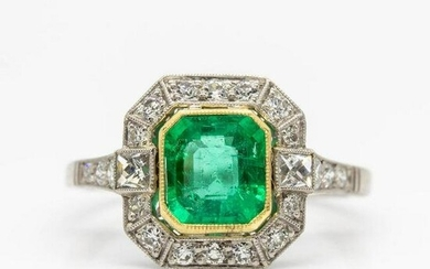 Platinum Colombian Emerald and French Cut Diamond Ring