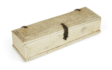 Property from an Important Private Collection A Mughal carved ivory scribe's box, Rajasthan, North India, late 18th century, of rectangular form, composed of ivory plaques set in a rectangular format, the exterior carved throughout with floral...
