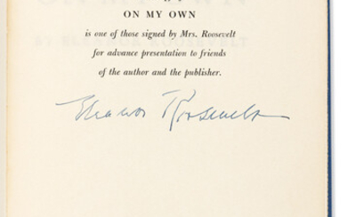 ROOSEVELT ELEANOR On My Own Signed on presentation page inse