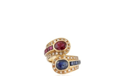 RUBY, SAPPHIRE, DIAMOND AND GOLD RING