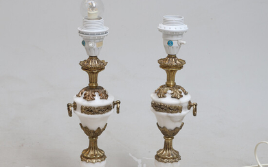 TABLE LAMPS, 2 pcs, brass and marble, Spain, second half of the 20th century.