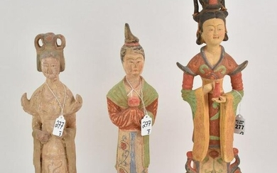 Three Chinese Pottery Statues of Guanyin - Each is made