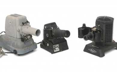 Three projectors for slides: Gold Chicago type 300p, Filmosto en Iewlex model 20-V, mainly 1930s/40s.