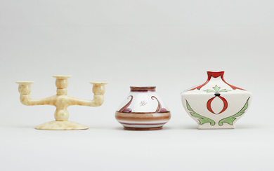 VASES, 2 pcs and CANDLEHOLDER, flintware Rörstrand, first half of the 20th century.