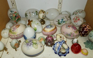 Vintage Painted and Ceramic Egg Form Decorations.