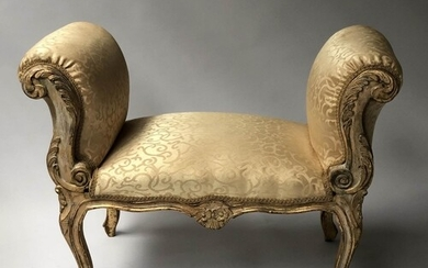WINDOW SEAT, French Louis XV style grey parcel gilt with fol...