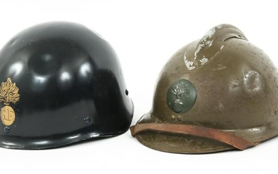 WWII - COLD WAR FRENCH ARMY HELMET LOT OF 2