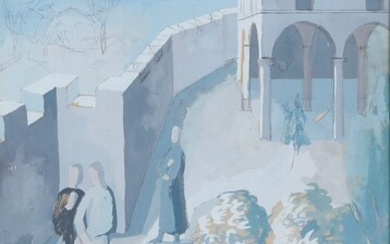 Walkers behind the walls circa 1936-1938 Gouache and pencil on...