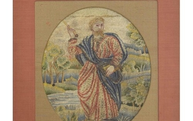 18th century needlework picture of a Saint, stood by a river...