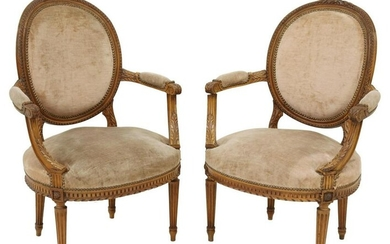 2) FRENCH LOUIS XVI STYLE MEDALLION BACK FAUTEUILS