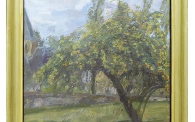 20th CENTURY SCHOOL 'Tree in the Orchard', oil on canvas, in...