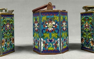 3 thermos flasks. Cloisonne. Probably China antique.
