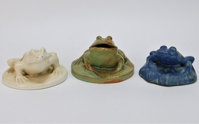 3PC American Figural Art Pottery Flower Frog Group