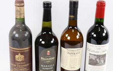 4 bottles of wine and fortified wine, 2 red Bordeaux, Chatea...