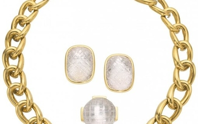55078: Rock Crystal Quartz, Gold Jewelry Suite, David W