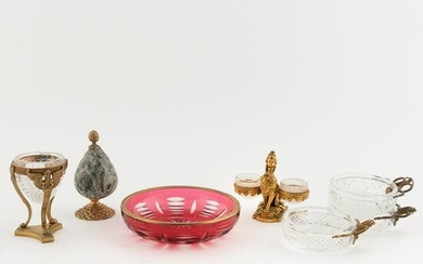 7 PCS, CRYSTAL AND GILT METAL DECORATIVE OBJECTS