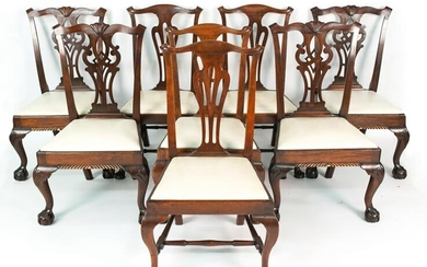 (8) MAHOGANY CHIPPENDALE STYLE DINING CHAIRS