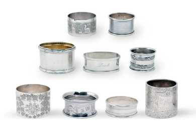 9 English and European Sterling Silver Napkin Rings