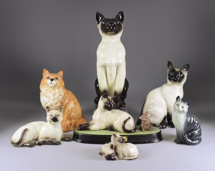 A Beswick Pottery 'Fireside Series' Seal Point Siamese Cat,...