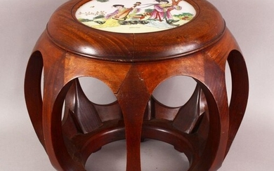 A CHINESE CARVED WOOD TABLE & INSET FAMILLE ROSE PORCELAIN P...