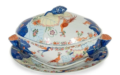 """A Chinese Export Porcelain """"Tobacco Leaf"""" Tureen and"""