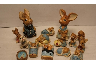 """A Collection of """"Pendelfin"""" Rabbit Figures to include Mother..."""