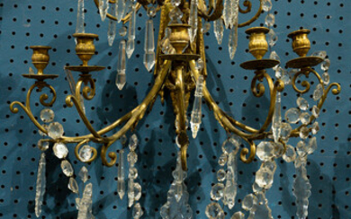 A French gilt bronze and crystal mounted giranandole