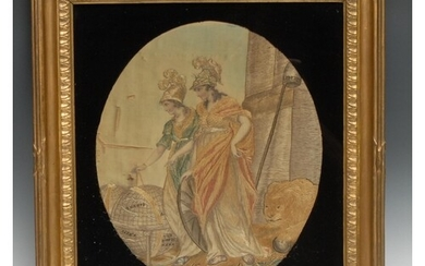 A George III silk and needlework picture, of Britannia and a...