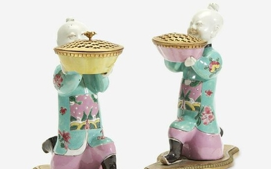 A Pair of Chinese Export Famille Rose Gilt