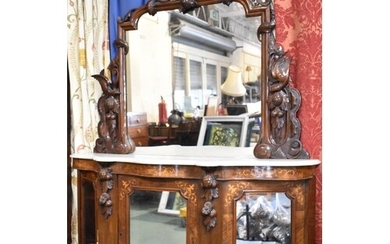 A Victorian Inlaid Mahogany Marble Top Chiffonier with Serpe...
