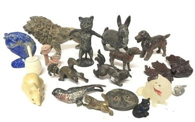 A collection of antique cold painted lead and other animal f...