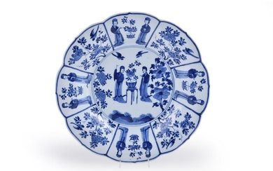 A large Chinese porcelain blue and white foliate shaped dish