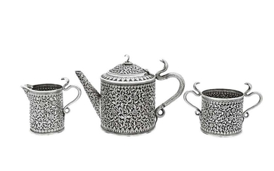 A late 19th / early 20th century Anglo – Indian silver three-piece tea service, Cutch, Bhuj circa 1900 by Oomersi Mawji jnr (active 1890-1930)