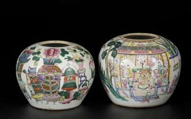 A lot of (2) porcelain storage jars with decor of figures and antiques, China, 1st...