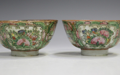 A pair of Chinese Canton famille rose medallion porcelain bowls, mid to late 19th century, each typi