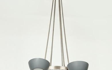 A patinated metal six light ceiling light