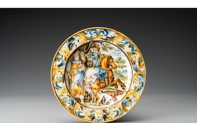A polychrome 'hunting scene' plate after Antonio Tempesta, G...