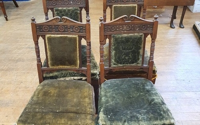 A set of six late 19th century carved walnut chairs, in the ...