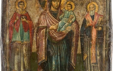 AN ICON SHOWING THE MOTHER OF GOD FLANKED BY...