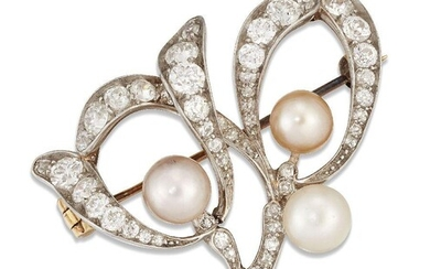 An Art Nouveau pearl and diamond brooch, modelled as a sprig of mistletoe set throughout with old-brilliant and old-cut diamonds with three pearl berries, mounted in gold and platinum, width 3.3cm Please note that the pearls have not been tested...