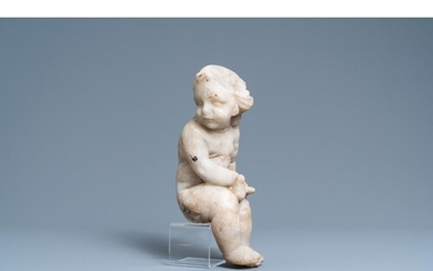 An alabaster figure of a putto with a bird on the knee, 17th...