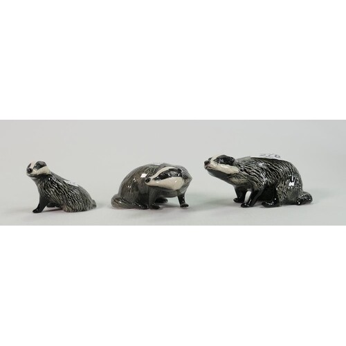 Beswick Badger family: models 3393,3394 and 3392(3)