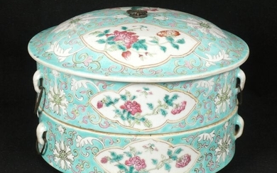 Chinese Stacked Famille Verte Porcelain Container