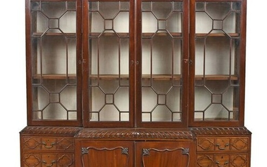 Chippendale Style Mahogany Fretwork Breakfront