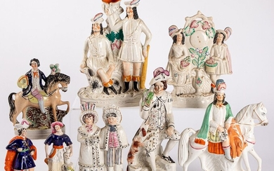Eight Staffordshire figures, 19th c.