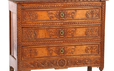 (-), Oak Louis Seize 3-drawer chest of drawers...