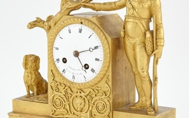 Empire Gilt-Bronze Figural Mantel Clock