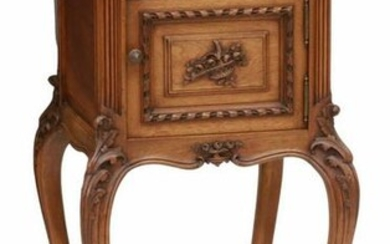 FRENCH LOUIS XV STYLE MARBLE-TOP WALNUT NIGHTSTAND