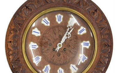 French oak and pine cased two train wall clock striking on a...